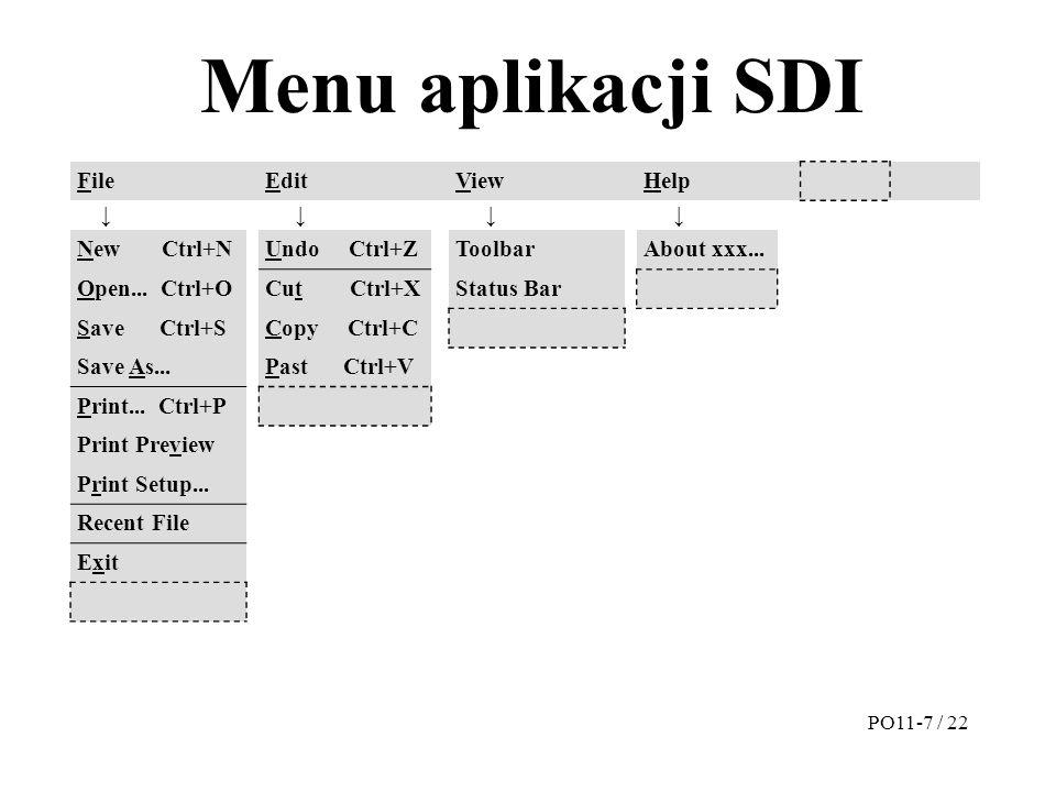 Menu aplikacji SDI FileEditViewHelp ↓ ↓ ↓ ↓ New Ctrl+NUndo Ctrl+ZToolbarAbout xxx... Open... Ctrl+OCut Ctrl+XStatus Bar Save Ctrl+SCopy Ctrl+C Save As