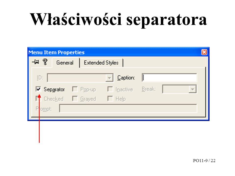 Właściwości separatora PO11-9 / 22