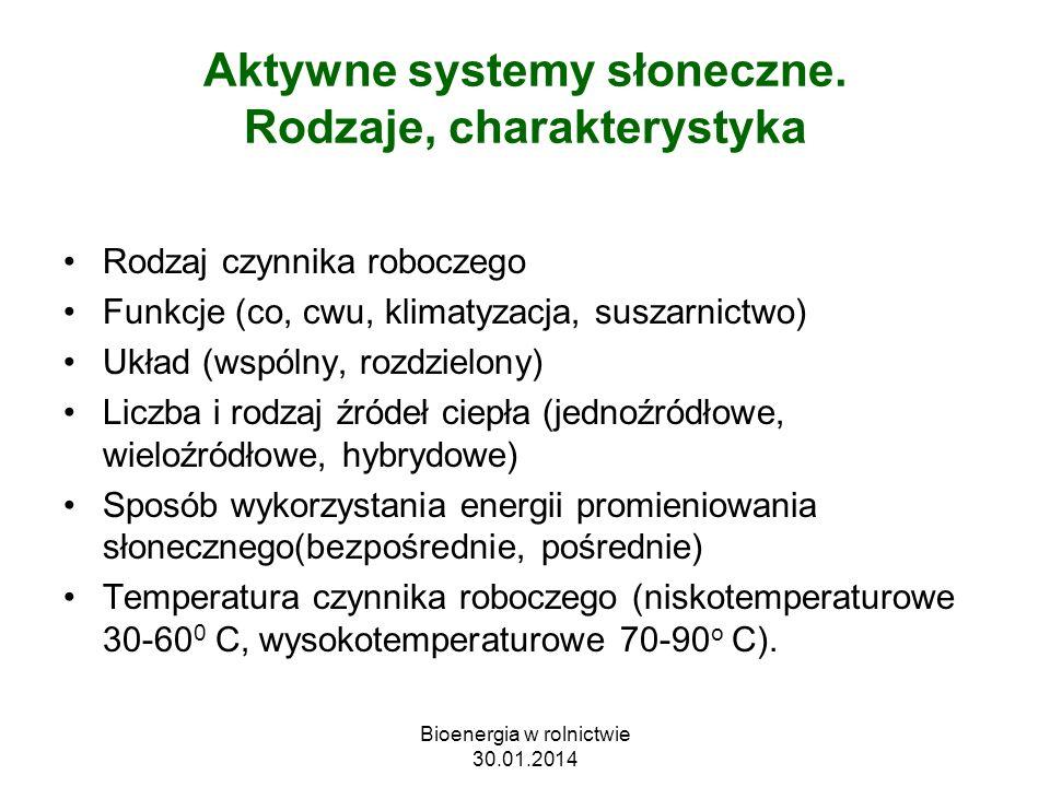 Aktywne systemy słoneczne. Rodzaje, charakterystyka Rodzaj czynnika roboczego Funkcje (co, cwu, klimatyzacja, suszarnictwo) Układ (wspólny, rozdzielon