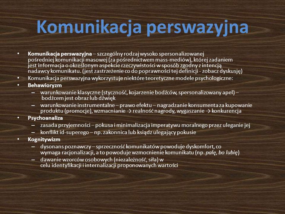 Komunikacja perswazyjna Komunikacja perswazyjna – szczególny rodzaj wysoko spersonalizowanej pośredniej komunikacji masowej (za pośrednictwem mass-mediów), której zadaniem jest informacja o określonym aspekcie rzeczywistości w sposób zgodny z intencją nadawcy komunikatu.