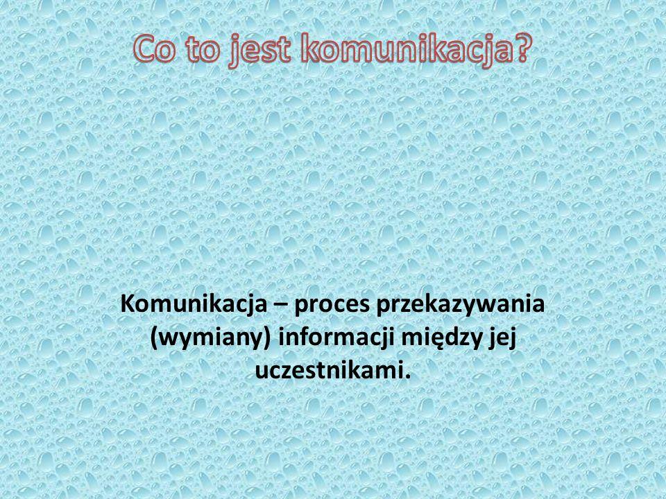 Komunikacja – proces przekazywania (wymiany) informacji między jej uczestnikami.