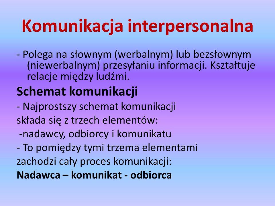 Komunikacja interpersonalna - Polega na słownym (werbalnym) lub bezsłownym (niewerbalnym) przesyłaniu informacji.
