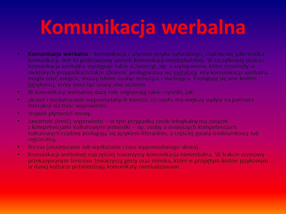 Komunikacja werbalna Komunikacja werbalna – komunikacja z użyciem języka naturalnego, czyli mowy jako środka komunikacji.