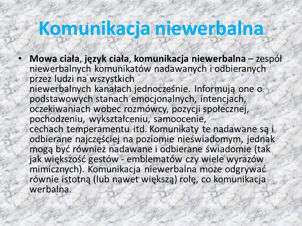 Komunikacja niewerbalna Mowa ciała, język ciała, komunikacja niewerbalna – zespół niewerbalnych komunikatów nadawanych i odbieranych przez ludzi na wszystkich niewerbalnych kanałach jednocześnie.