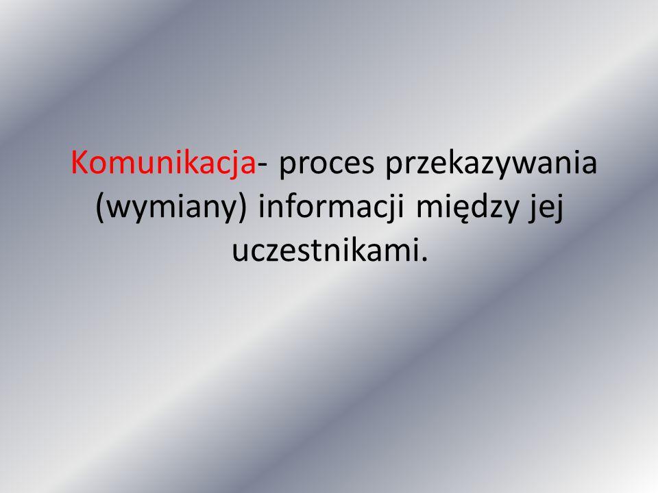 Komunikacja- proces przekazywania (wymiany) informacji między jej uczestnikami.