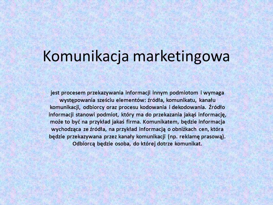 Komunikacja marketingowa jest procesem przekazywania informacji innym podmiotom i wymaga występowania sześciu elementów: źródła, komunikatu, kanału ko