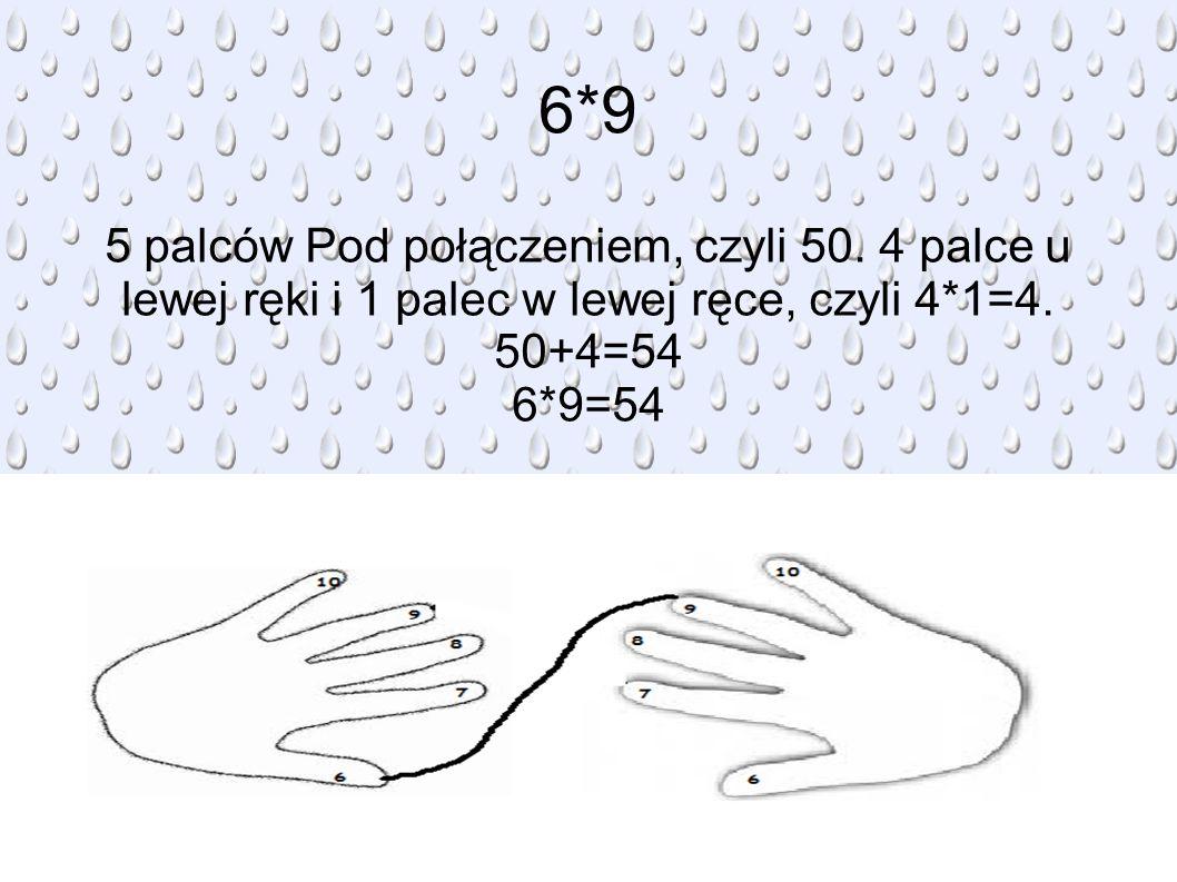 6*9 5 palców Pod połączeniem, czyli 50.4 palce u lewej ręki i 1 palec w lewej ręce, czyli 4*1=4.