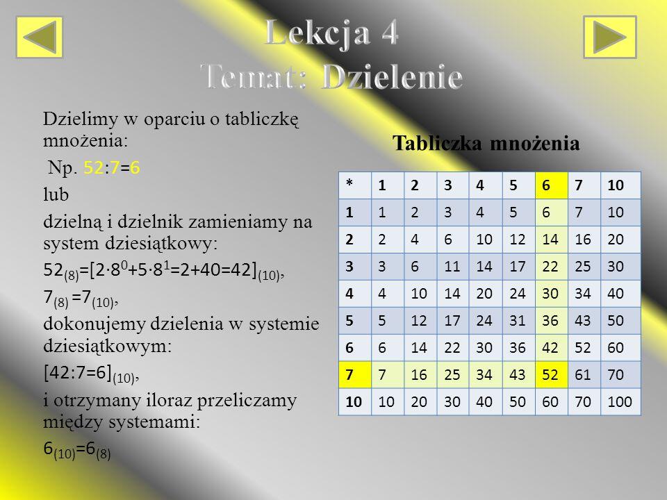 Tabliczka mnożenia Dzielimy w oparciu o tabliczkę mnożenia: Np.