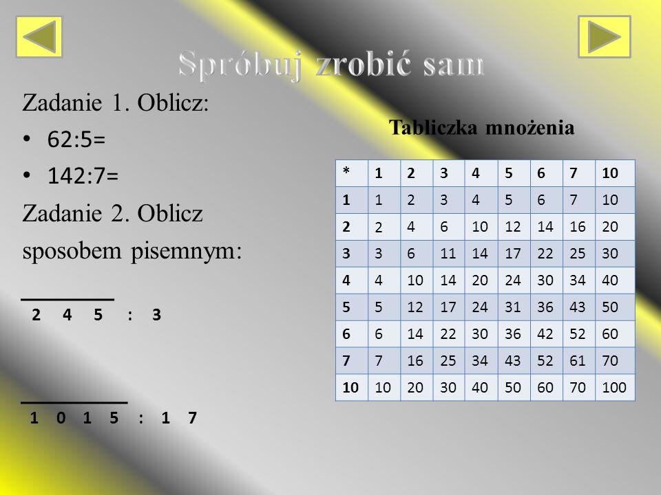 Zadanie 1.Oblicz: 62:5= 142:7= Zadanie 2.