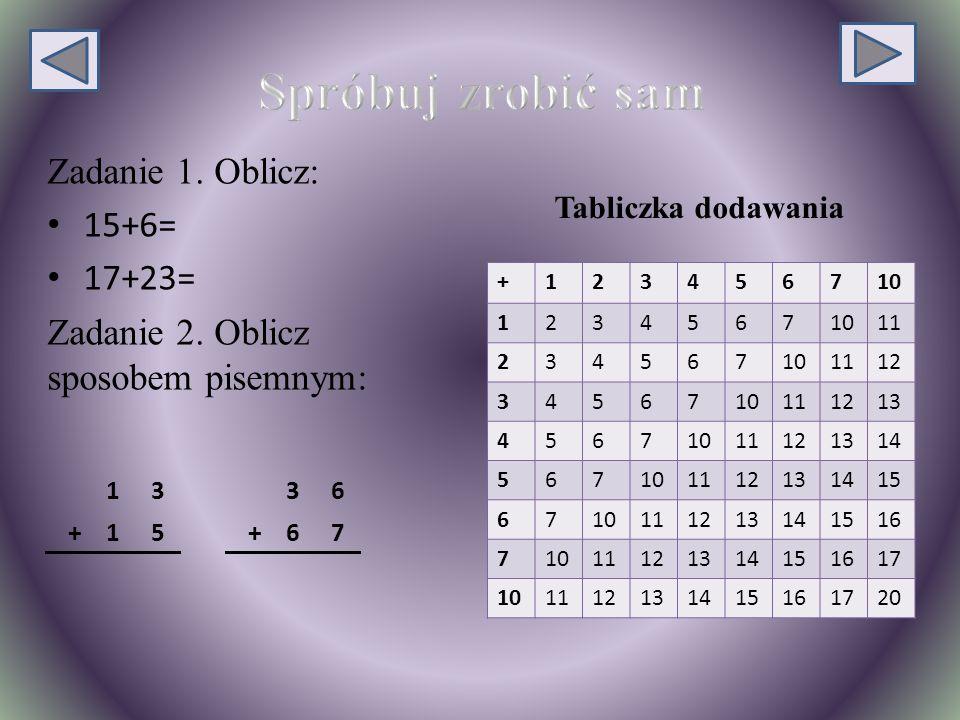 Zadanie 1.Oblicz: 15+6= 17+23= Zadanie 2.