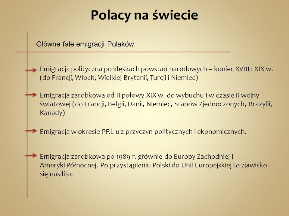 Polacy na świecie Główne fale emigracji Polaków Emigracja polityczna po klęskach powstań narodowych – koniec XVIII i XIX w.