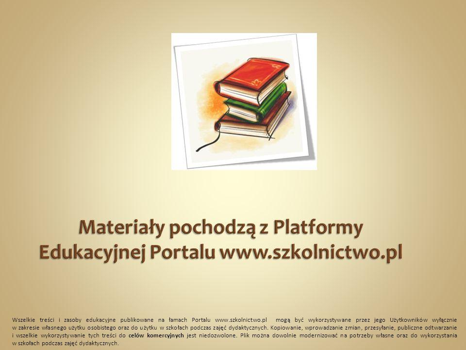 Wszelkie treści i zasoby edukacyjne publikowane na łamach Portalu www.szkolnictwo.pl mogą być wykorzystywane przez jego Użytkowników wyłącznie w zakresie własnego użytku osobistego oraz do użytku w szkołach podczas zajęć dydaktycznych.