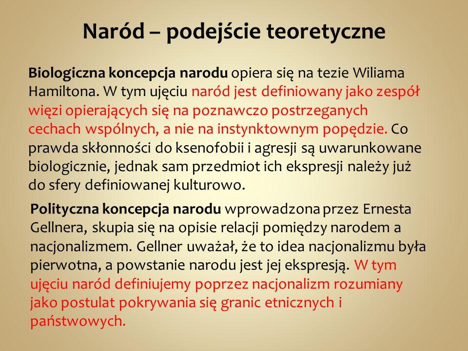 Naród – podejście teoretyczne Biologiczna koncepcja narodu opiera się na tezie Wiliama Hamiltona.