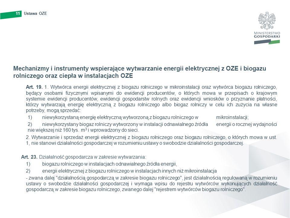 11Ustawa OZE11 Mechanizmy i instrumenty wspierające wytwarzanie energii elektrycznej z OZE i biogazu rolniczego oraz ciepła w instalacjach OZE Art.