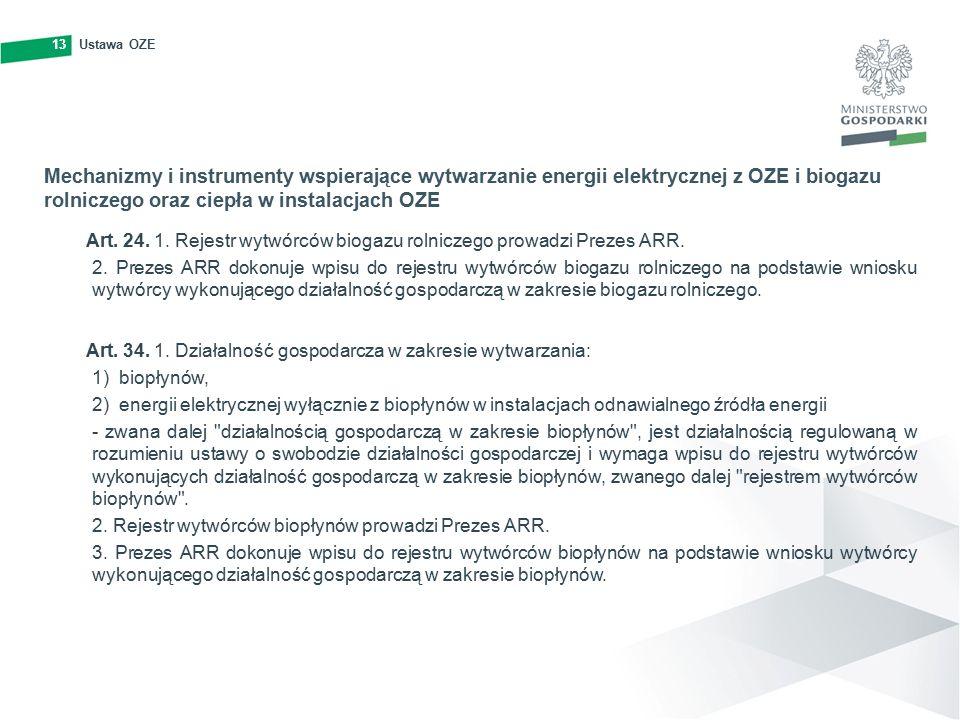 13Ustawa OZE13 Mechanizmy i instrumenty wspierające wytwarzanie energii elektrycznej z OZE i biogazu rolniczego oraz ciepła w instalacjach OZE Art.