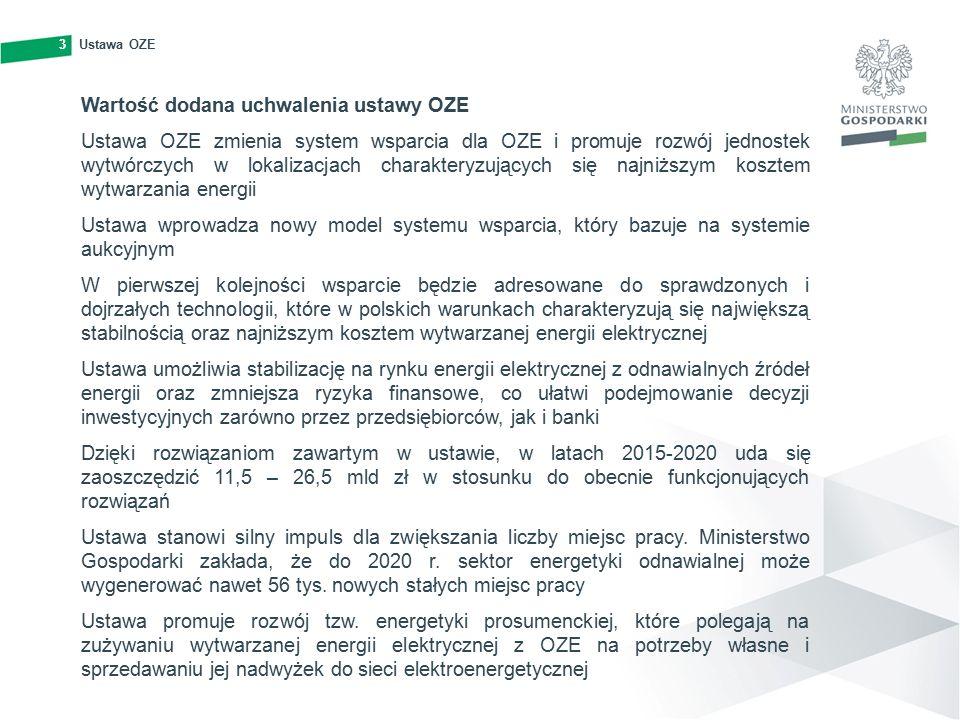 3Ustawa OZE3 Wartość dodana uchwalenia ustawy OZE Ustawa OZE zmienia system wsparcia dla OZE i promuje rozwój jednostek wytwórczych w lokalizacjach charakteryzujących się najniższym kosztem wytwarzania energii Ustawa wprowadza nowy model systemu wsparcia, który bazuje na systemie aukcyjnym W pierwszej kolejności wsparcie będzie adresowane do sprawdzonych i dojrzałych technologii, które w polskich warunkach charakteryzują się największą stabilnością oraz najniższym kosztem wytwarzanej energii elektrycznej Ustawa umożliwia stabilizację na rynku energii elektrycznej z odnawialnych źródeł energii oraz zmniejsza ryzyka finansowe, co ułatwi podejmowanie decyzji inwestycyjnych zarówno przez przedsiębiorców, jak i banki Dzięki rozwiązaniom zawartym w ustawie, w latach 2015-2020 uda się zaoszczędzić 11,5 – 26,5 mld zł w stosunku do obecnie funkcjonujących rozwiązań Ustawa stanowi silny impuls dla zwiększania liczby miejsc pracy.