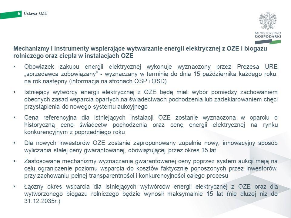 """6Ustawa OZE6 Mechanizmy i instrumenty wspierające wytwarzanie energii elektrycznej z OZE i biogazu rolniczego oraz ciepła w instalacjach OZE Obowiązek zakupu energii elektrycznej wykonuje wyznaczony przez Prezesa URE """"sprzedawca zobowiązany - wyznaczany w terminie do dnia 15 października każdego roku, na rok następny (informacja na stronach OSP i OSD) Istniejący wytwórcy energii elektrycznej z OZE będą mieli wybór pomiędzy zachowaniem obecnych zasad wsparcia opartych na świadectwach pochodzenia lub zadeklarowaniem chęci przystąpienia do nowego systemu aukcyjnego Cena referencyjna dla istniejących instalacji OZE zostanie wyznaczona w oparciu o historyczną cenę świadectw pochodzenia oraz cenę energii elektrycznej na rynku konkurencyjnym z poprzedniego roku Dla nowych inwestorów OZE zostanie zaproponowany zupełnie nowy, innowacyjny sposób wyliczania stałej ceny gwarantowanej, obowiązującej przez okres 15 lat Zastosowane mechanizmy wyznaczania gwarantowanej ceny poprzez system aukcji mają na celu ograniczenie poziomu wsparcia do kosztów faktycznie ponoszonych przez inwestorów, przy zachowaniu pełnej transparentności i konkurencyjności całego procesu Łączny okres wsparcia dla istniejących wytwórców energii elektrycznej z OZE oraz dla wytworzonego biogazu rolniczego będzie wynosił maksymalnie 15 lat (nie dłużej niż do 31.12.2035r.)"""