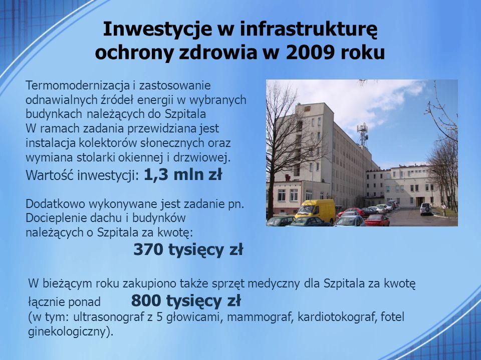 Inwestycje w infrastrukturę ochrony zdrowia w 2009 roku Termomodernizacja i zastosowanie odnawialnych źródeł energii w wybranych budynkach należących do Szpitala W ramach zadania przewidziana jest instalacja kolektorów słonecznych oraz wymiana stolarki okiennej i drzwiowej.