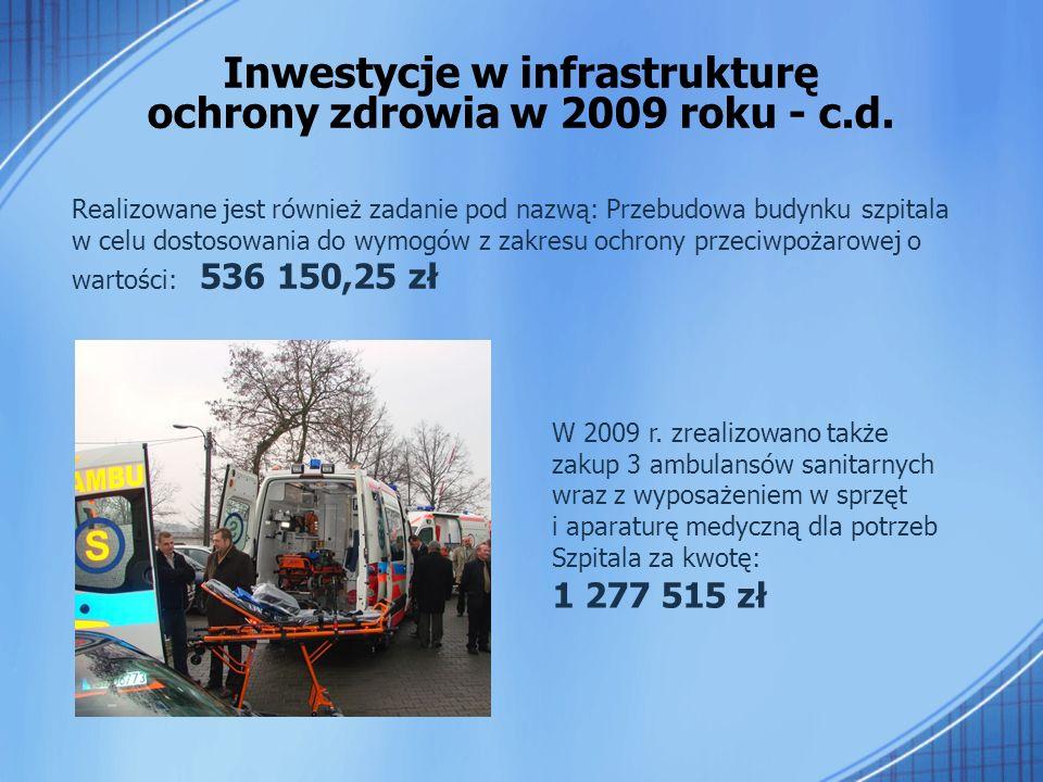 Realizowane jest również zadanie pod nazwą: Przebudowa budynku szpitala w celu dostosowania do wymogów z zakresu ochrony przeciwpożarowej o wartości: 536 150,25 zł Inwestycje w infrastrukturę ochrony zdrowia w 2009 roku - c.d.