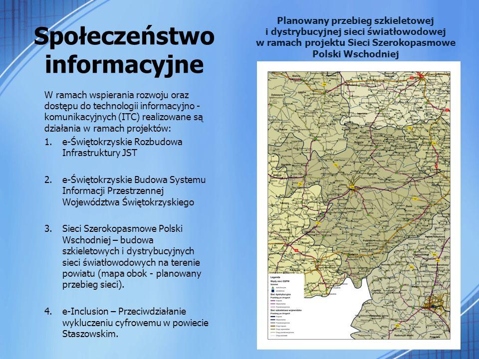 Społeczeństwo informacyjne W ramach wspierania rozwoju oraz dostępu do technologii informacyjno - komunikacyjnych (ITC) realizowane są działania w ramach projektów: 1.e-Świętokrzyskie Rozbudowa Infrastruktury JST 2.e-Świętokrzyskie Budowa Systemu Informacji Przestrzennej Województwa Świętokrzyskiego 3.Sieci Szerokopasmowe Polski Wschodniej – budowa szkieletowych i dystrybucyjnych sieci światłowodowych na terenie powiatu (mapa obok - planowany przebieg sieci).