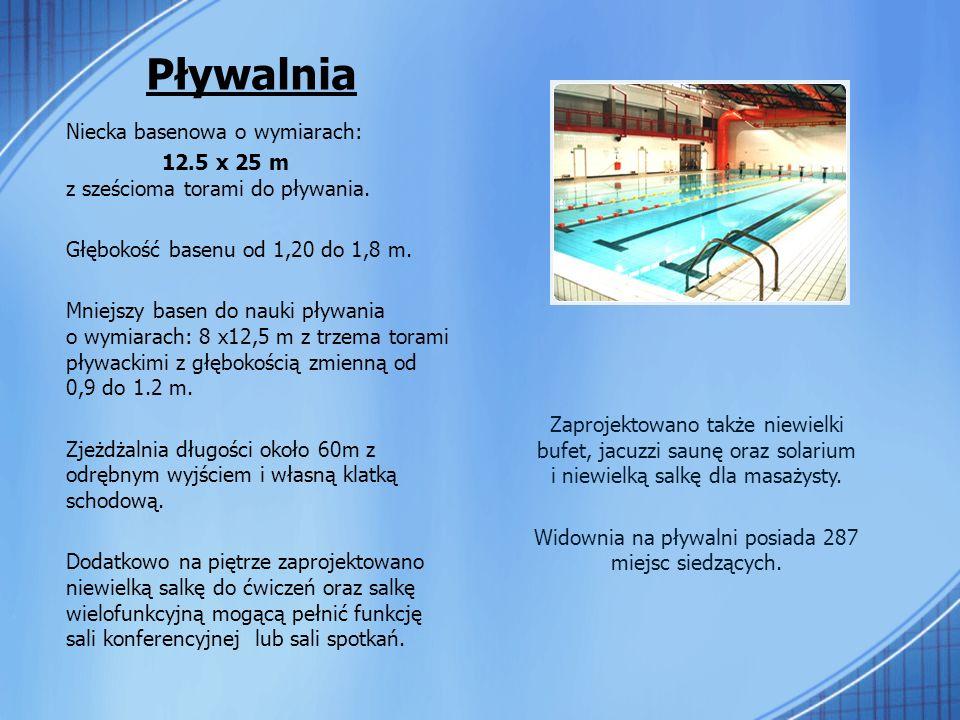 Pływalnia Niecka basenowa o wymiarach: 12.5 x 25 m z sześcioma torami do pływania.