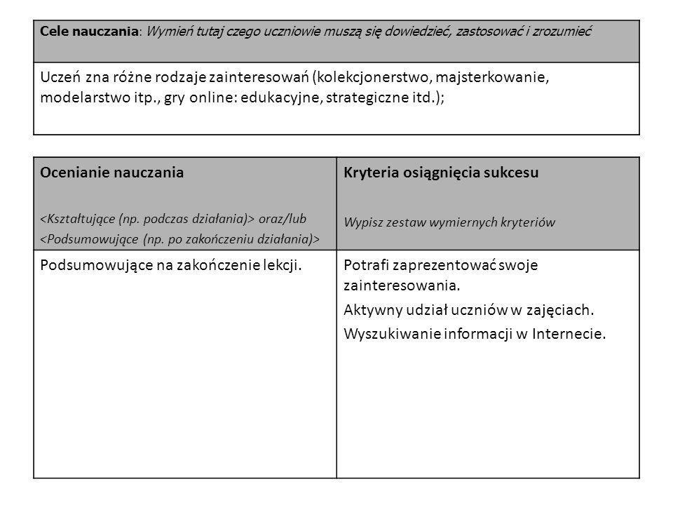 Cele nauczania : Wymień tutaj czego uczniowie muszą się dowiedzieć, zastosować i zrozumieć Uczeń zna różne rodzaje zainteresowań (kolekcjonerstwo, maj