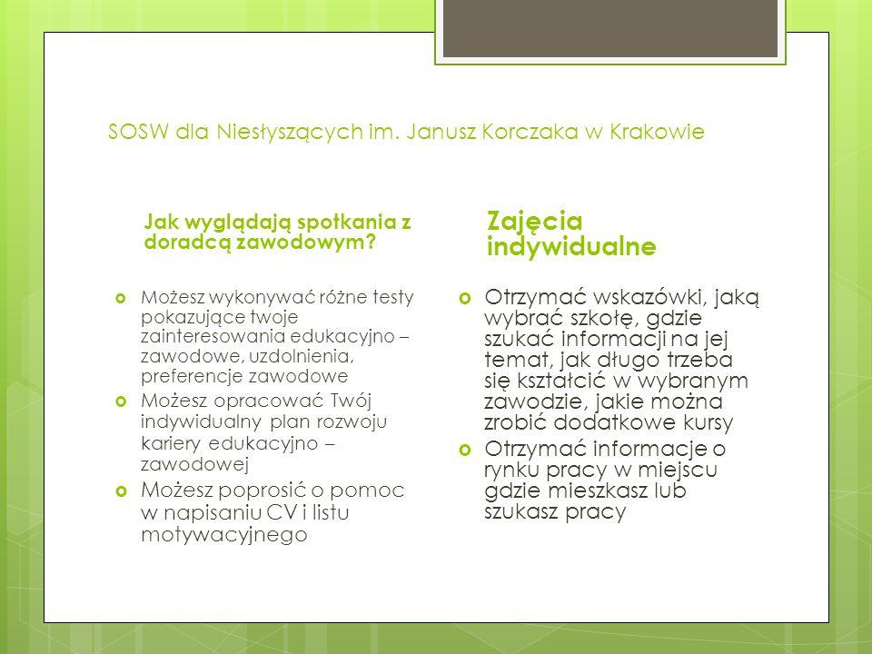 SOSW dla Niesłyszących im.Janusz Korczaka w Krakowie Jak wyglądają spotkania z doradcą zawodowym.