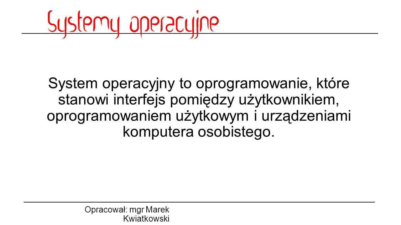 System operacyjny to oprogramowanie, które stanowi interfejs pomiędzy użytkownikiem, oprogramowaniem użytkowym i urządzeniami komputera osobistego.