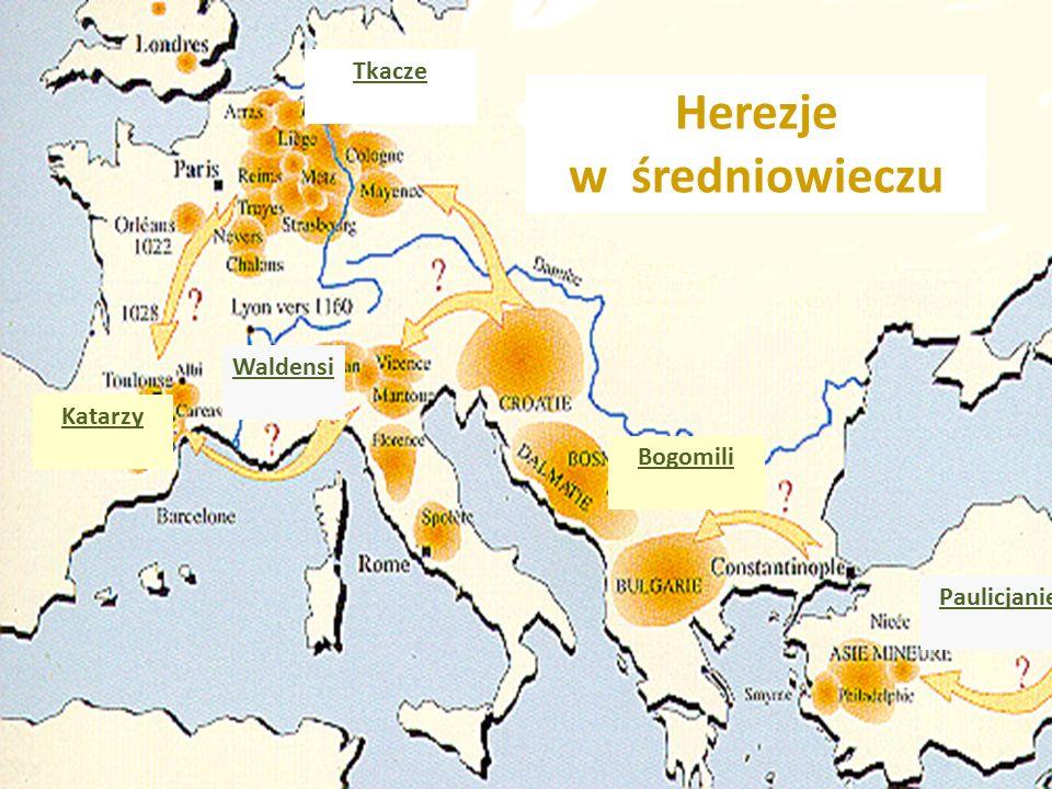 Herezje w średniowieczu Waldensi Katarzy Bogomili Tkacze Paulicjanie