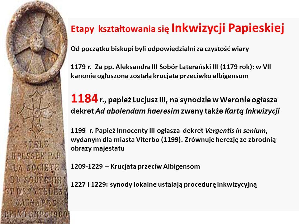 Etapy kształtowania się Inkwizycji Papieskiej Od początku biskupi byli odpowiedzialni za czystość wiary 1179 r.