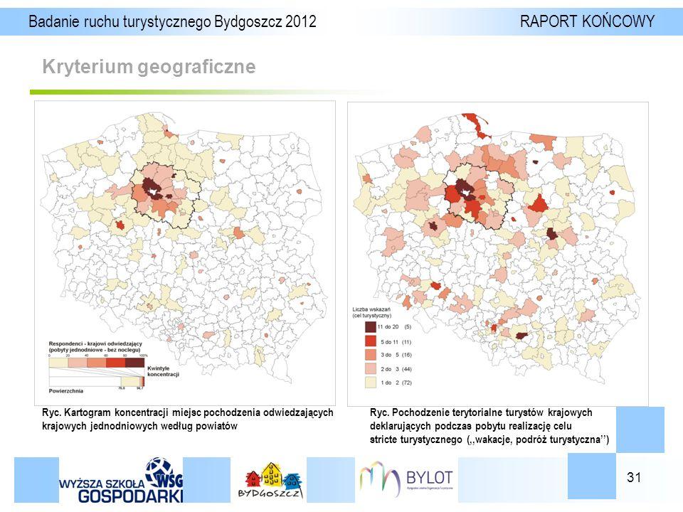 31 Kryterium geograficzne Badanie ruchu turystycznego Bydgoszcz 2012 RAPORT KOŃCOWY Ryc.