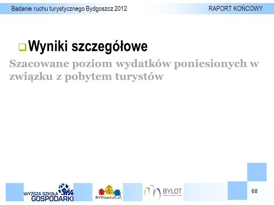 68  Wyniki szczegółowe Badanie ruchu turystycznego Bydgoszcz 2012 RAPORT KOŃCOWY Szacowane poziom wydatków poniesionych w związku z pobytem turystów