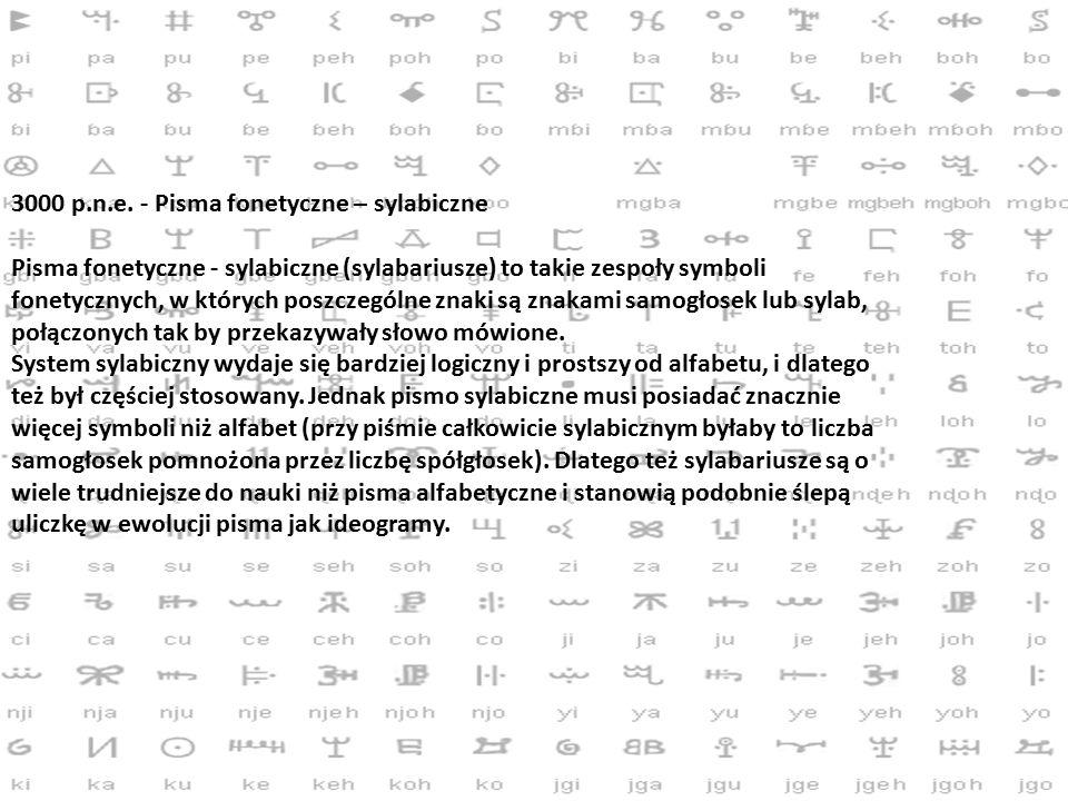 3000 p.n.e. - Pisma fonetyczne – sylabiczne Pisma fonetyczne - sylabiczne (sylabariusze) to takie zespoły symboli fonetycznych, w których poszczególne