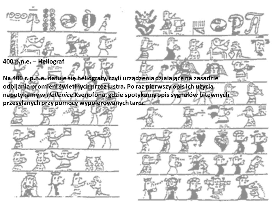 400 p.n.e. – Heliograf Na 400 r. p.n.e. datuje się heliografy, czyli urządzenia działające na zasadzie odbijania promieni świetlnych przez lustra. Po