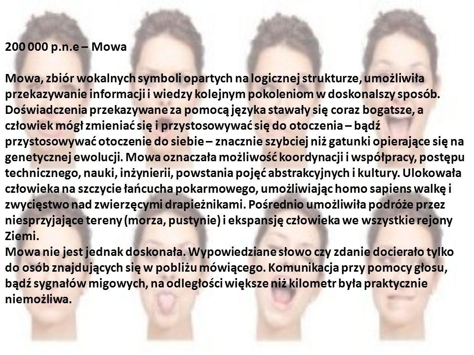 200 000 p.n.e – Mowa Mowa, zbiór wokalnych symboli opartych na logicznej strukturze, umożliwiła przekazywanie informacji i wiedzy kolejnym pokoleniom