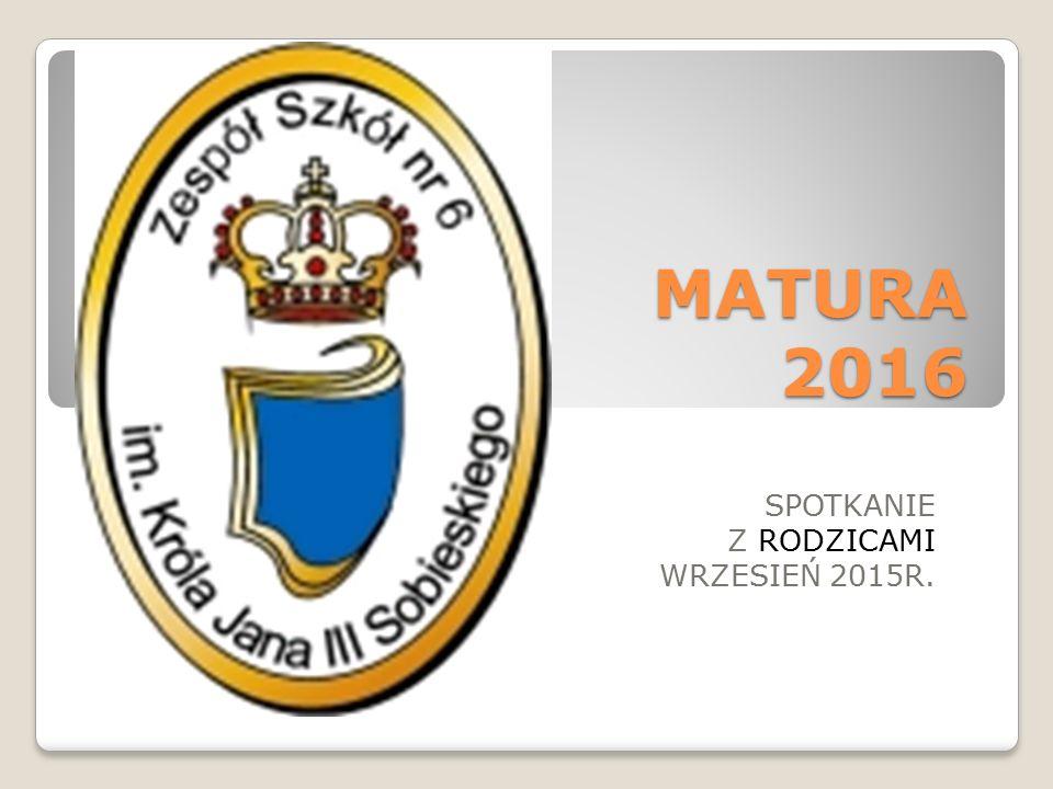 MATURA 2016 SPOTKANIE Z RODZICAMI WRZESIEŃ 2015R.