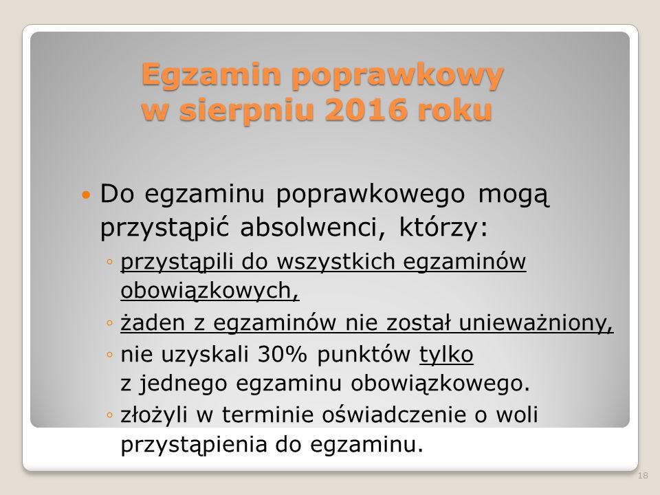 Egzamin poprawkowy w sierpniu 2016 roku Do egzamin u poprawkowego mogą przystąpić absolwenci, którzy: ◦przystąpili do wszystkich egzaminów obowiązkowy