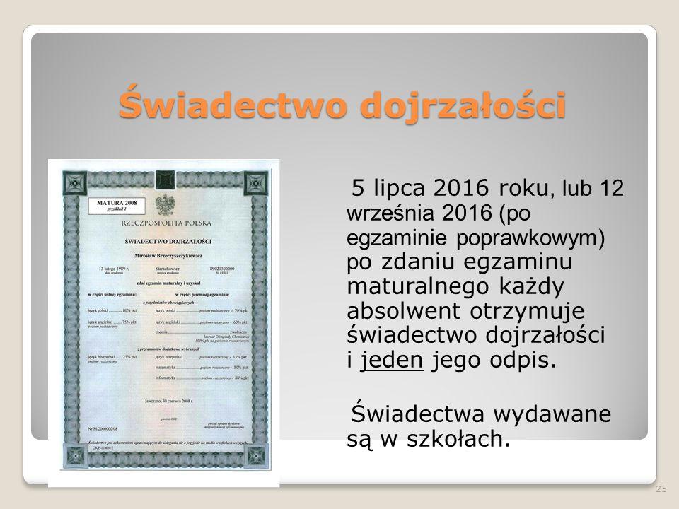 Świadectwo dojrzałości 5 lipca 2016 roku, lub 12 września 2016 (po egzaminie poprawkowym) p o zdaniu egzaminu maturalnego każdy absolwent otrzymuje świadectwo dojrzałości i jeden jego odpis.