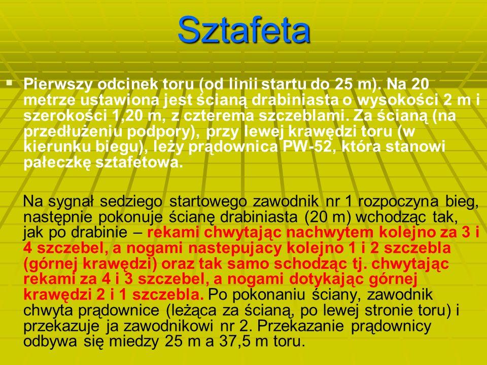Sztafeta   Pierwszy odcinek toru (od linii startu do 25 m). Na 20 metrze ustawiona jest ścianą drabiniasta o wysokości 2 m i szerokości 1,20 m, z cz