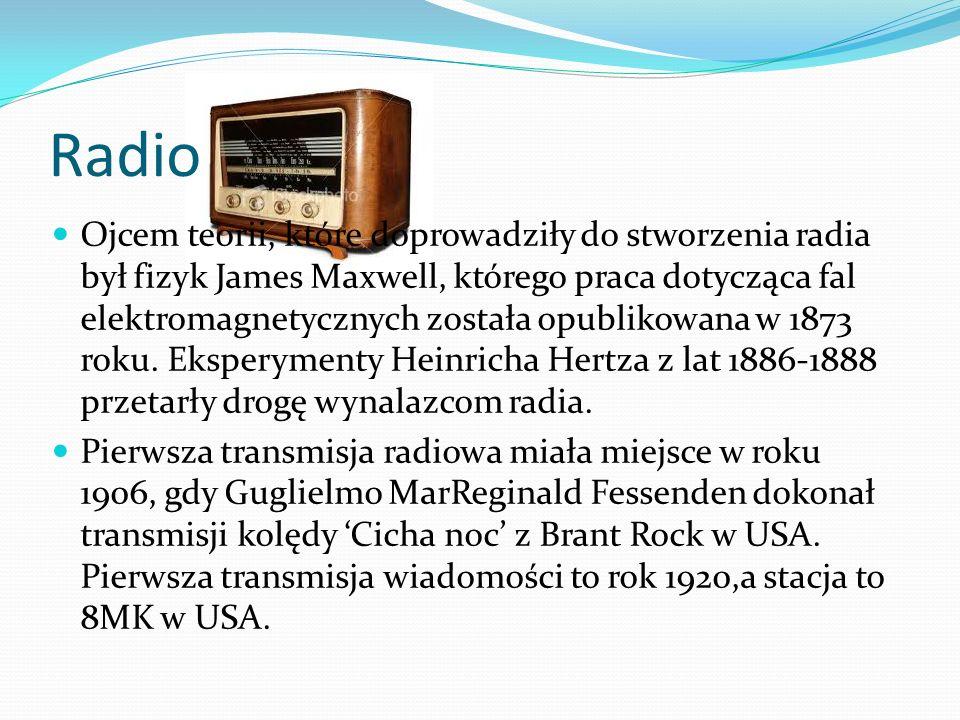 Radio Ojcem teorii, które doprowadziły do stworzenia radia był fizyk James Maxwell, którego praca dotycząca fal elektromagnetycznych została opublikowana w 1873 roku.