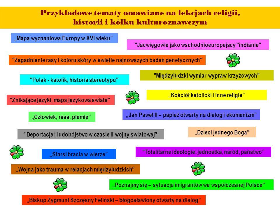 """Przykładowe tematy omawiane na lekcjach religii, historii i kółku kulturoznawczym """"Mapa wyznaniowa Europy w XVI wieku """"Człowiek, rasa, plemię """"Wojna jako trauma w relacjach międzyludzkich """"Jan Paweł II – papież otwarty na dialog i ekumenizm """"Poznajmy się – sytuacja imigrantów we współczesnej Polsce """"Dzieci jednego Boga """"Starsi bracia w wierze """"Kościół katolicki i inne religie """"Biskup Zygmunt Szczęsny Feliński – błogosławiony otwarty na dialog Zagadnienie rasy i koloru skóry w świetle najnowszych badań genetycznych Jaćwięgowie jako wschodnioeuropejscy indianie Znikające języki, mapa językowa świata Międzyludzki wymiar wypraw krzyżowych Polak - katolik, historia stereotypu Deportacje i ludobójstwo w czasie II wojny światowej Totalitarne ideologie: jednostka, naród, państwo"""