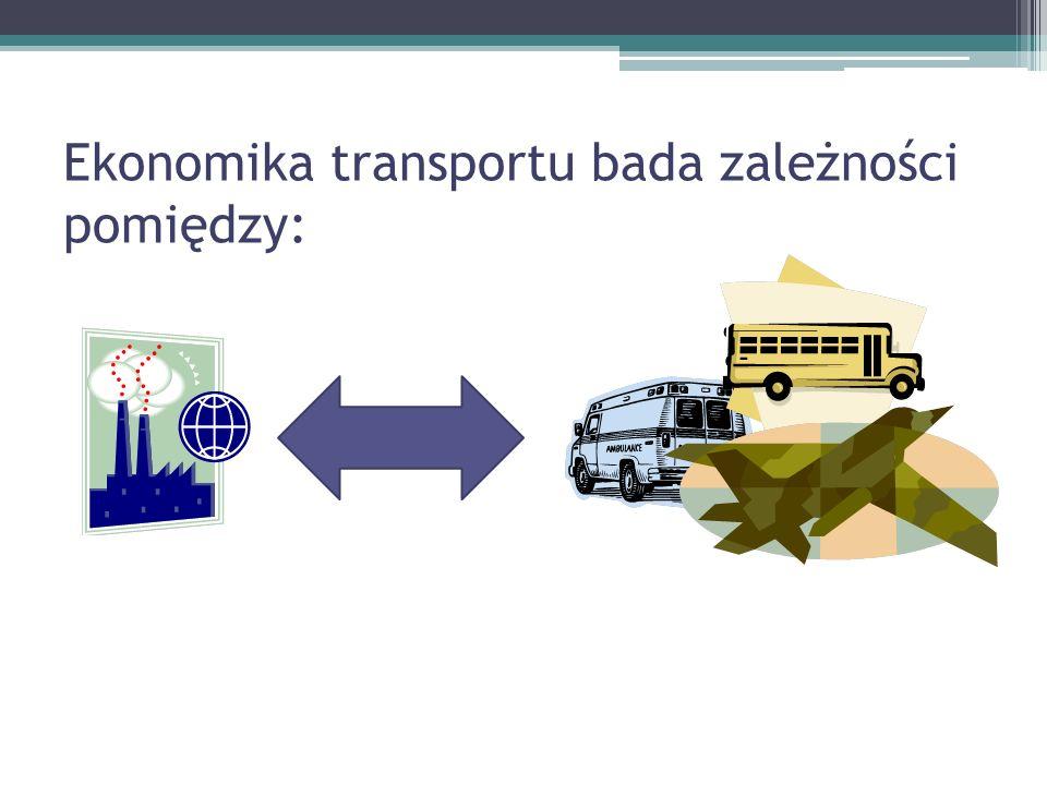 Ekonomika transportu bada zależności pomiędzy: