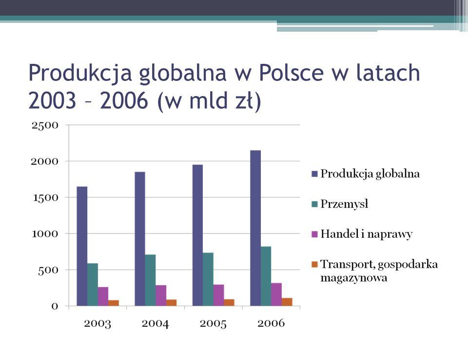 Produkcja globalna w Polsce w latach 2003 – 2006 (w mld zł)