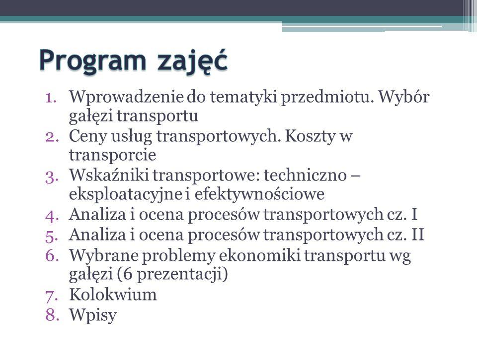 1.Wprowadzenie do tematyki przedmiotu.Wybór gałęzi transportu 2.Ceny usług transportowych.