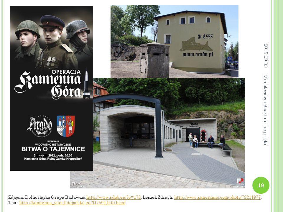 Zdjęcia: Dolnośląska Grupa Badawcza http://www.sdgb.eu/?p=175; Leszek Zdrach, http://www.panoramio.com/photo/72211977; Thor http://kamienna_gora.fotopolska.eu/317564,foto.html;http://www.sdgb.eu/?p=175http://www.panoramio.com/photo/72211977http://kamienna_gora.fotopolska.eu/317564,foto.html 2015-09-03 19 Ministerstwo Sportu i Turystyki