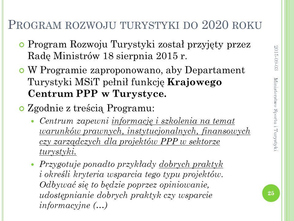 P ROGRAM ROZWOJU TURYSTYKI DO 2020 ROKU Program Rozwoju Turystyki został przyjęty przez Radę Ministrów 18 sierpnia 2015 r. W Programie zaproponowano,