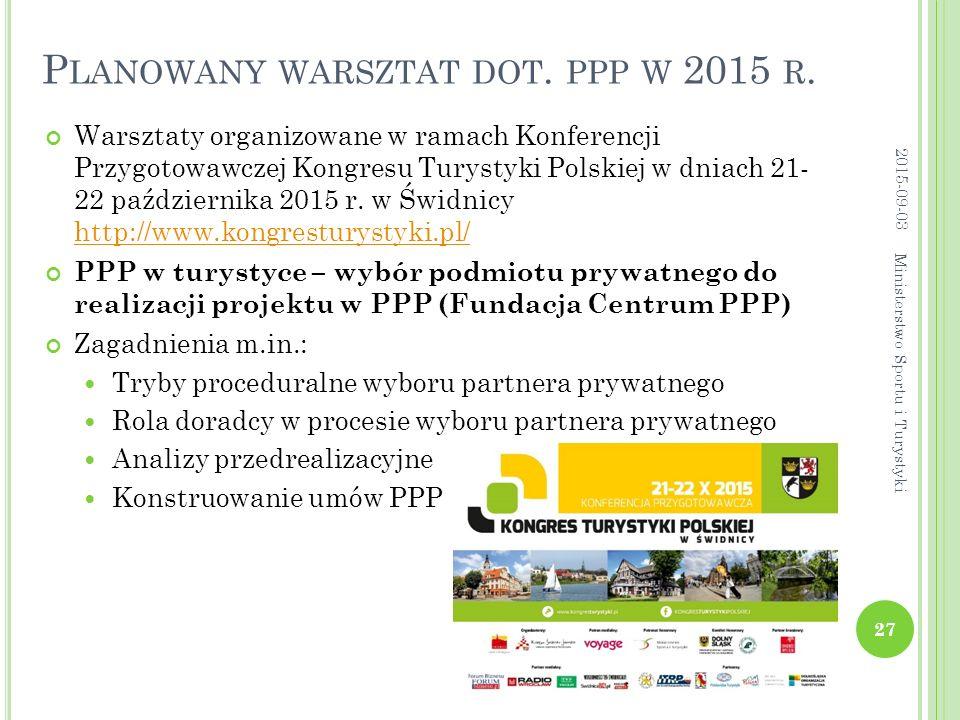 P LANOWANY WARSZTAT DOT. PPP W 2015 R. Warsztaty organizowane w ramach Konferencji Przygotowawczej Kongresu Turystyki Polskiej w dniach 21- 22 paździe