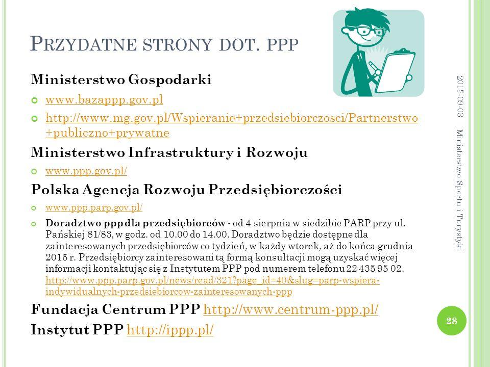 P RZYDATNE STRONY DOT. PPP Ministerstwo Gospodarki www.bazappp.gov.pl http://www.mg.gov.pl/Wspieranie+przedsiebiorczosci/Partnerstwo +publiczno+prywat