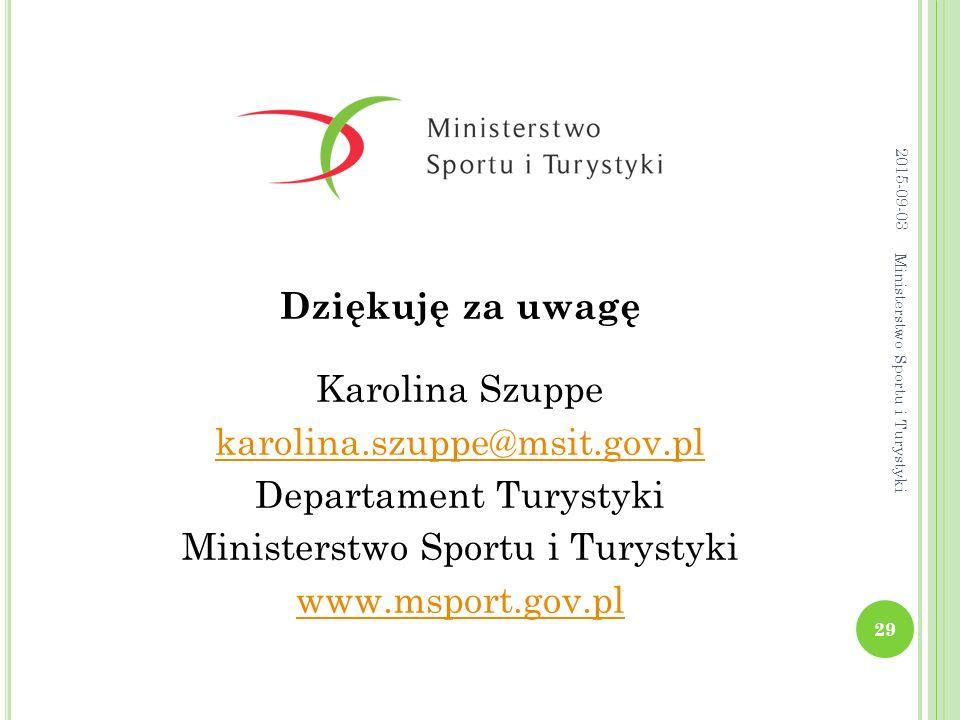 Dziękuję za uwagę Karolina Szuppe karolina.szuppe@msit.gov.pl Departament Turystyki Ministerstwo Sportu i Turystyki www.msport.gov.pl 29 Ministerstwo Sportu i Turystyki 2015-09-03