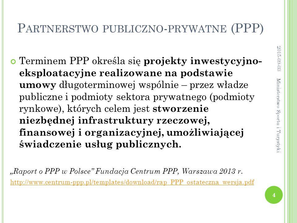 P ARTNERSTWO PUBLICZNO - PRYWATNE (PPP) Terminem PPP określa się projekty inwestycyjno- eksploatacyjne realizowane na podstawie umowy długoterminowej wspólnie – przez władze publiczne i podmioty sektora prywatnego (podmioty rynkowe), których celem jest stworzenie niezbędnej infrastruktury rzeczowej, finansowej i organizacyjnej, umożliwiającej świadczenie usług publicznych.